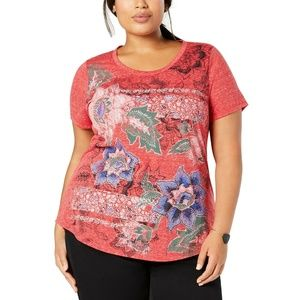 Style Co Plus Size Scoop Neck Graphic T-Shirt Top
